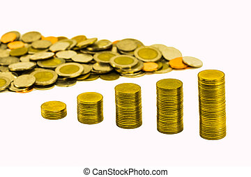 Pile of golden coins graph and pile of coins.