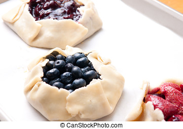 hand made galettes - strawberry, blueberry and cherry...
