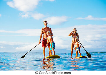 Family Fun, Stand Up Paddling - Family Having Fun Stand Up...