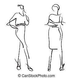 Fashion models. Sketch. - Fashion models sketch. Hand drawn...
