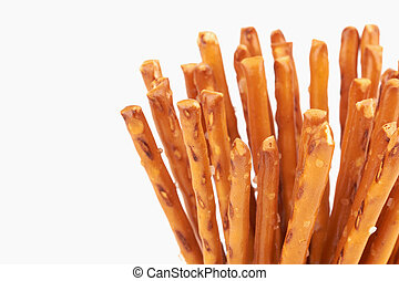 pretzel sticks - salty cracker pretzel sticks isolated on...