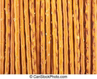 pretzel sticks - closeup of a pile of pretzel sticks
