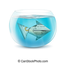 creative finance concept, dollar fish in aquarium isolated...