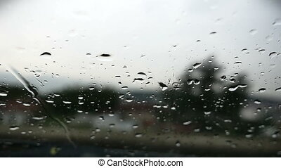rain in car glass