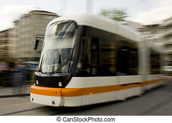 Tramway - A tramway in the city center of Eskisehir Turkey....