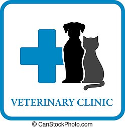 veterinary clinic icon with pet silhouette and blue cross
