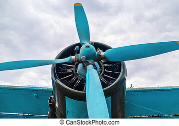 Propeller airplane - Engine and propeller of old vintage...