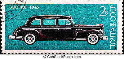 postage stamp shows vintage car - USSR - CIRCA 1976: postage...