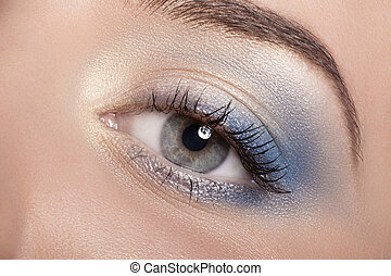Beautiful Eye Makeup. - Colorful eye makeup closeup.