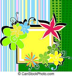 floral frame - colorful floral frame