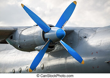 Aircraft Engine - Engine and propeller of the old retro...