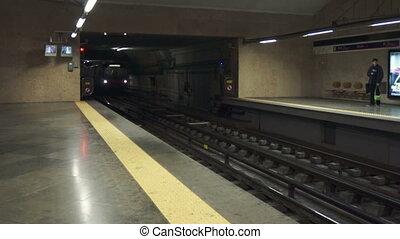 Subway trains entering station in Lisbon, Portugal