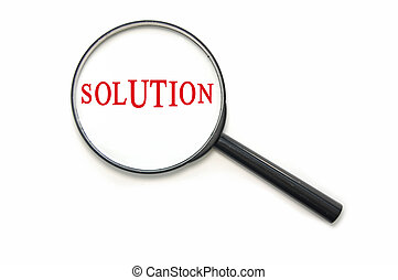 Solution - The word solution through a magnifying glass