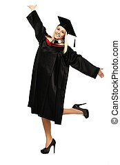 Happy graduated student girl isolated on white