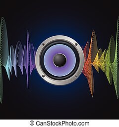 Musical Concept. Audio Speaker and Equalizer on Dark...