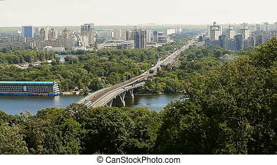urban landscape view of the Dnieper in Kiev