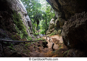 Sun beam in cave in the Sri Lanka