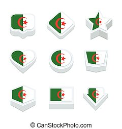 algeria flags icons and button set nine styles