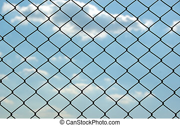 chain link fence - Chain link wired fence pattern against...