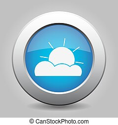 blue metal button with weather - partly cloudy - blue metal...