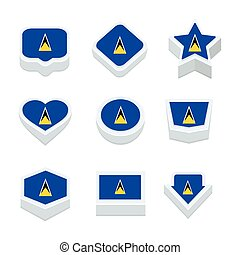 st lucia flags icons and button set nine styles