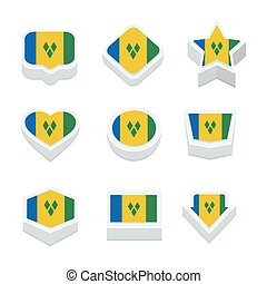 st vincent & the grenadines flags icons and button set nine...