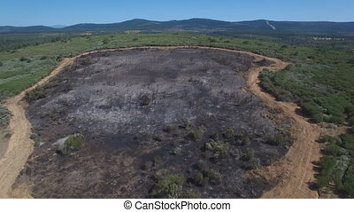 Firebreak around burnt area - Aerial view of burnt area with...