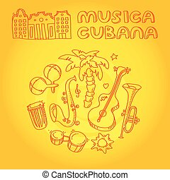 Cuban music illustration with musical instruments, palms,...