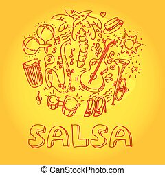 Salsa music and dance illustration with musical instruments, palms, etc