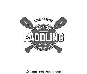 Vintage paddling, kayaking, canoeing camp logo, labels and...