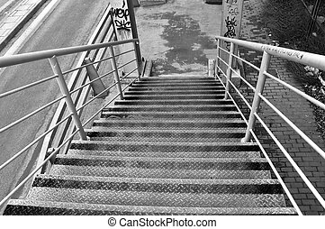 overpass bridge stairs - Metal stairs of pedestrian overpass...