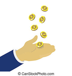 Hand throwing up golden coins, finance concept
