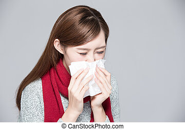A woman catches a cold - A Woman catches a cold, illness,...
