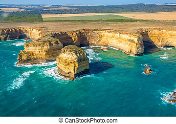 Port Campbell National Park - Aerial view of shipwreck coast...