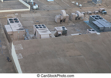 Industrial Air Conditioner Units on a Rooftop - Rooftop...