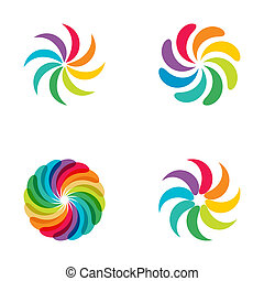 Bright colors rainbow flower logo set. Abstract flower...