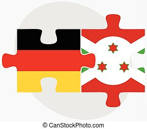 Germany and Burundi Flags in puzzle isolated on white...