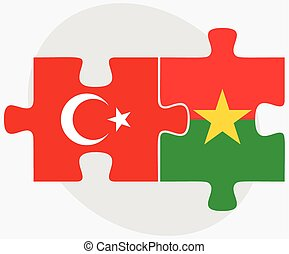 Turkey and Burkina Faso Flags in puzzle isolated on white...
