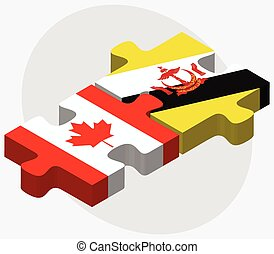 Canada and Brunei Darussalam Flags in puzzle isolated on...