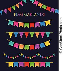 Colorful Garlands - Vector Illustration of Colorful Garlands...
