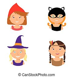 Kids Trick or Treating - Illustration of cute little girls...