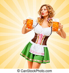 Oktoberfest waitress. - Beautiful sexy Oktoberfest woman...