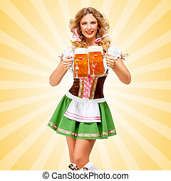 Serving with laugh. - Beautiful sexy Oktoberfest woman...