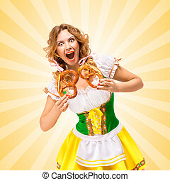 Food and fun - Happy excited sexy Oktoberfest woman wearing...