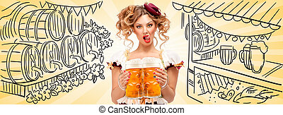 Tasty and sexy - Beautiful Oktoberfest waitress, wearing a...