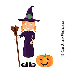 girl in a halloween costume - Cute cartoon girl in the Witch...