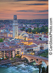 Verona - Image of Verona, Italy during summer sunset