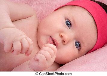 adorável, bebê, recem nascido, azul, olhos
