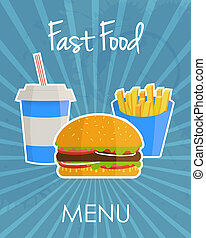 Fast food concept banner - Fast food menu banner in flat...