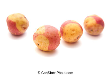 variety of canarian potatoes, isolated on white
